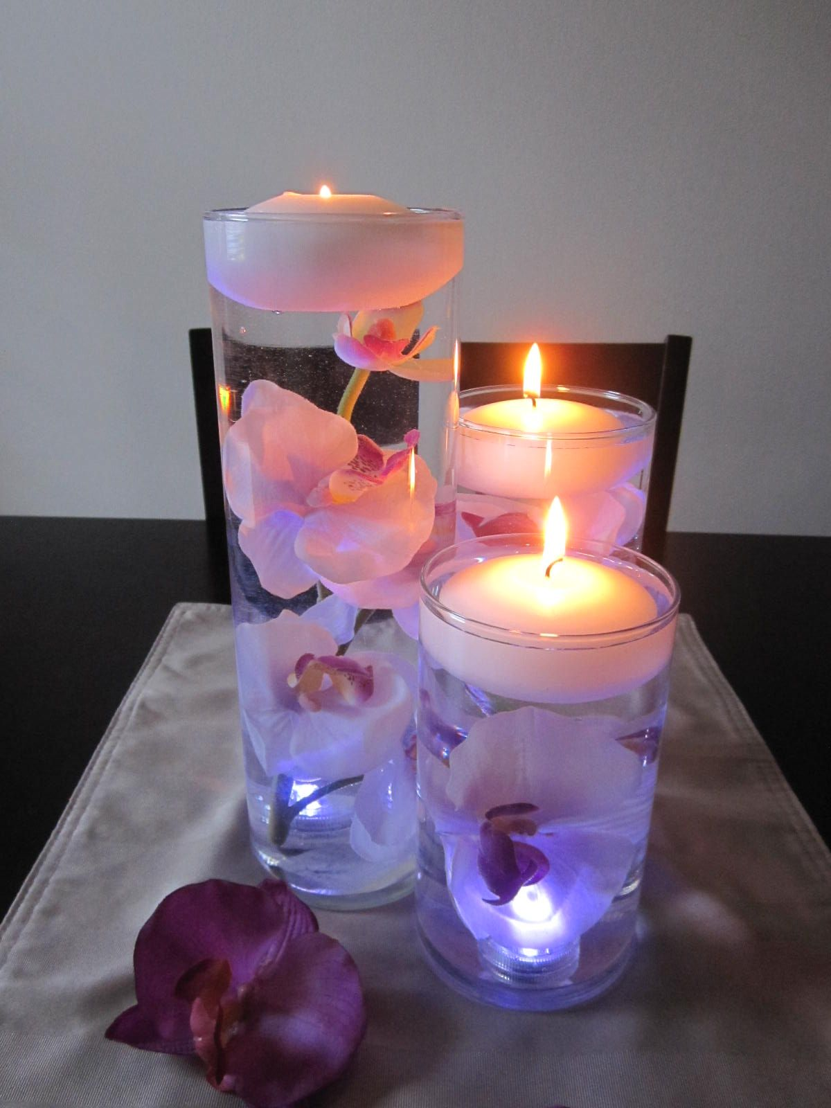 Floating purple and white orchid centerpiece kit