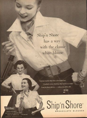 1952 Vintage Ad For Ship N Shore Broadcloth Blouses 50 S Fashion