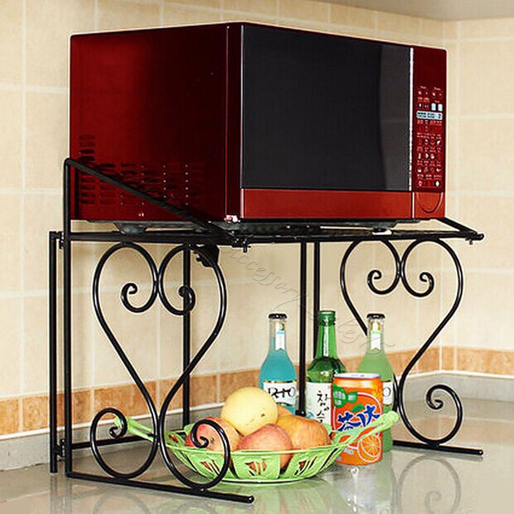 Kitchen shelves for microwave - 2 Tier Black Metal Multifunctional Microwave Oven Rack Household Kitchen Shelf