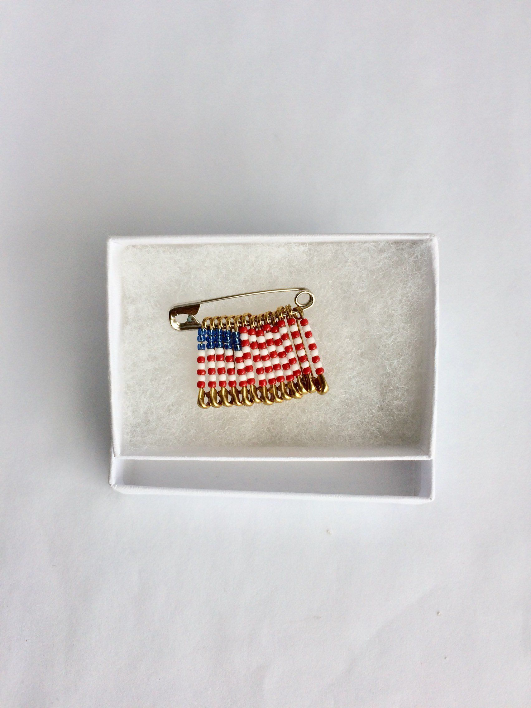 USA Flag Handmade Beaded Pin Brooch Safety Birthday Gift Veterans Day For Her Labor Lapel By FlagPinsbyAnnette On Etsy