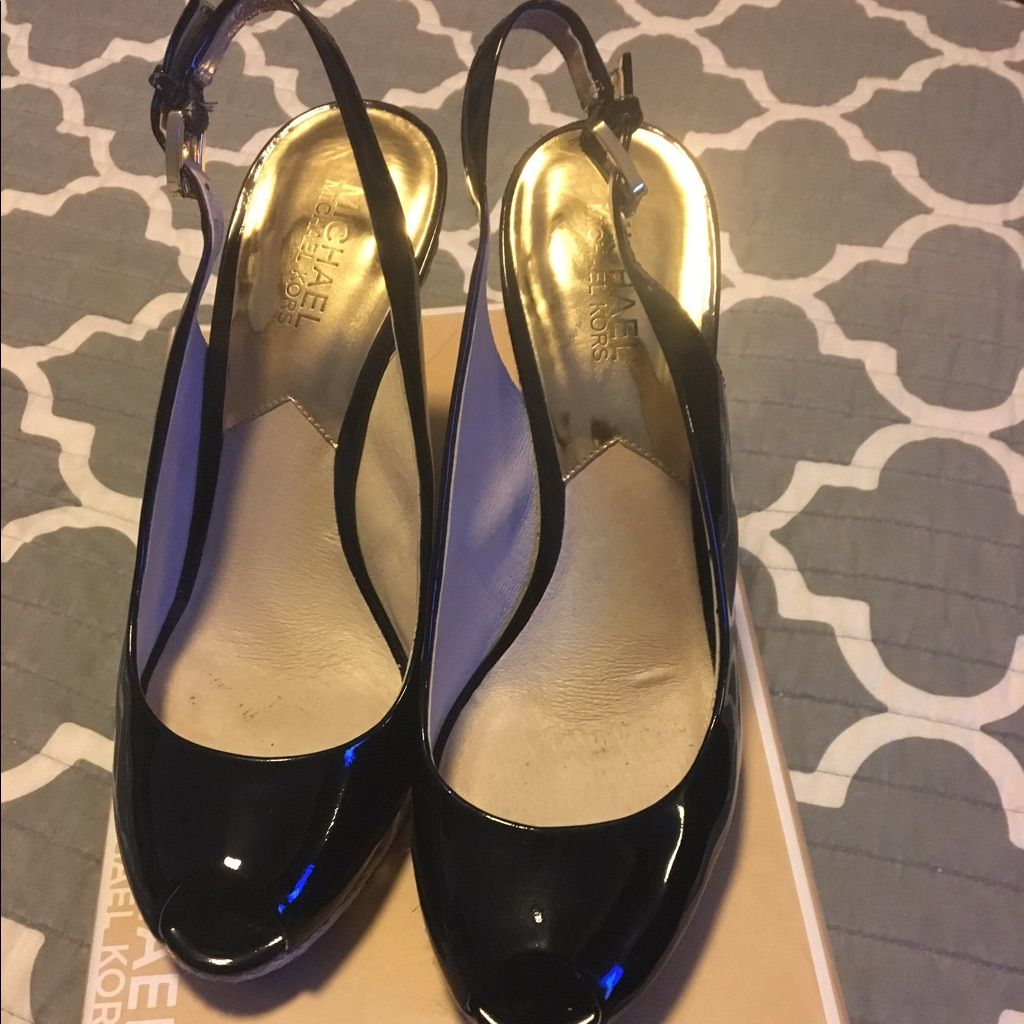 Micheal Kors Patent Leather Wedge Sling Back Shoes