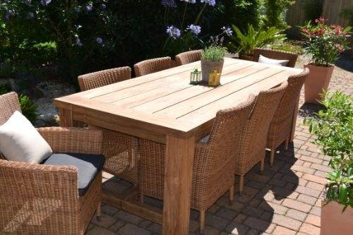 Teak Sitzgruppe Garten Garnitur Tisch (240×100) Und 8 Sessel / Stühle  Rattan Und Recyceltes Teak Java Kor
