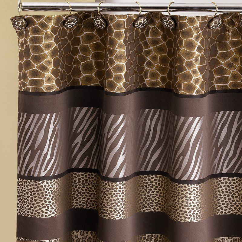 Sweet Home Collection Safari Stripe Bathroom Fabric Shower Curtain