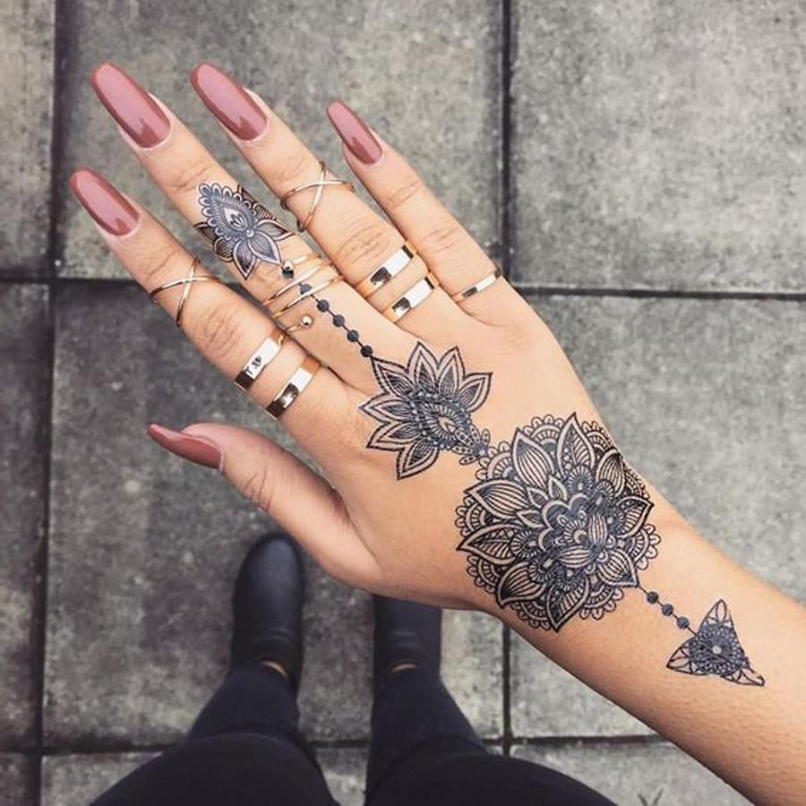Aiyana Tribal Lotus Mandala Temporary Tattoo Finger Tattoos Hand Tattoos For Women Mandala Hand Tattoos