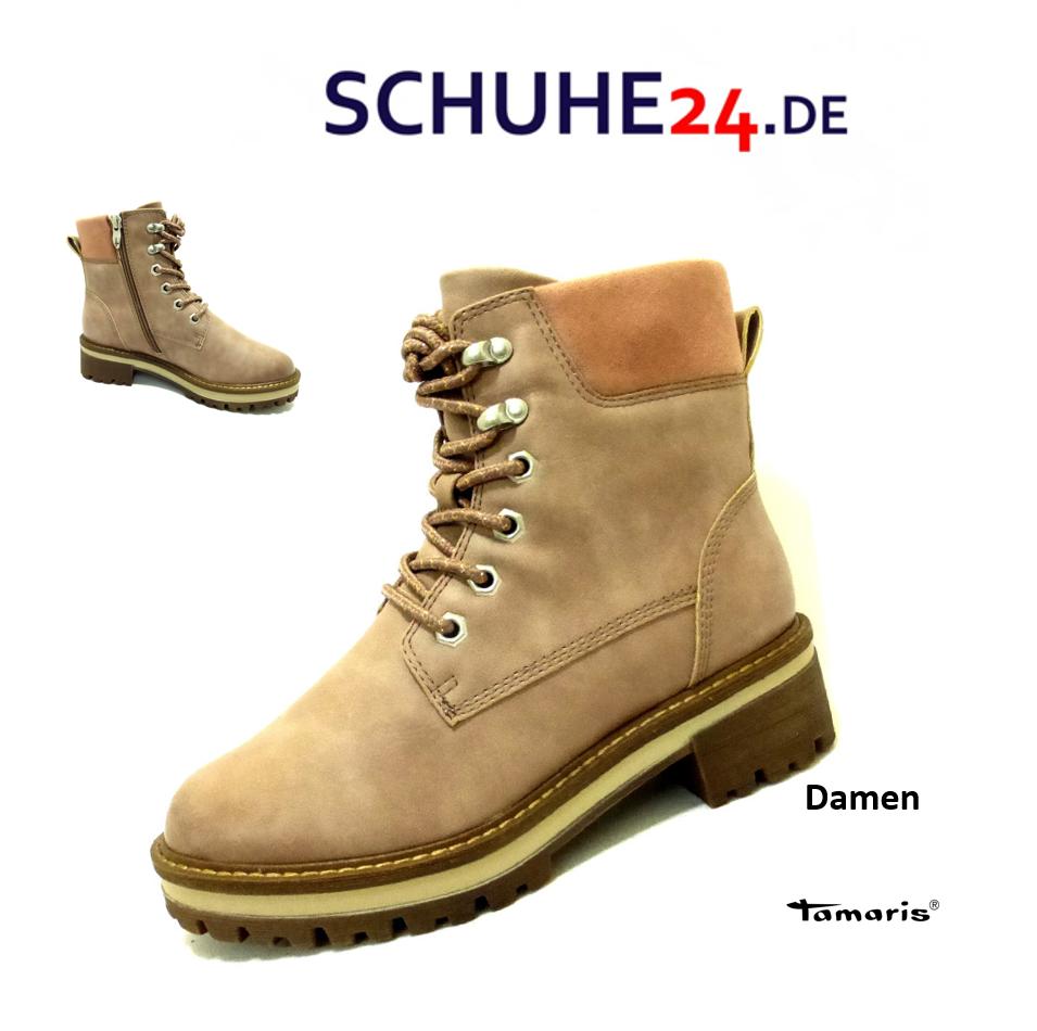 TAMARIS DAMEN LEDER Schnür Stiefelette Ankle Boots Nieten