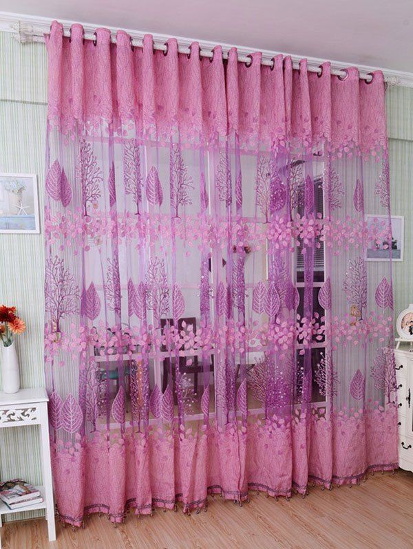 Fabric Sheer Leaf Embroidery Tulle Curtain For Living Room - Pink ...