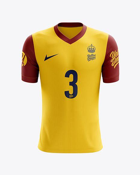 Download Free PSD Mockup Men s Soccer V-Neck Jersey mockup (Front ...
