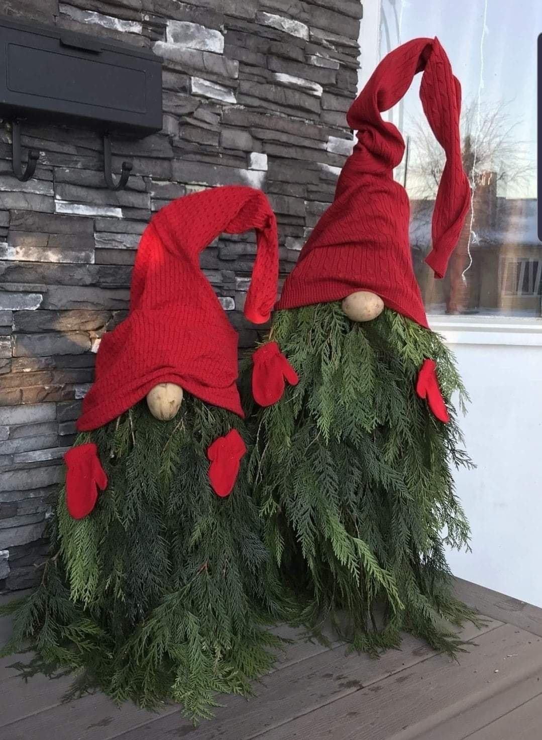 Tomato Cage Christmas Gnome Porch Decor