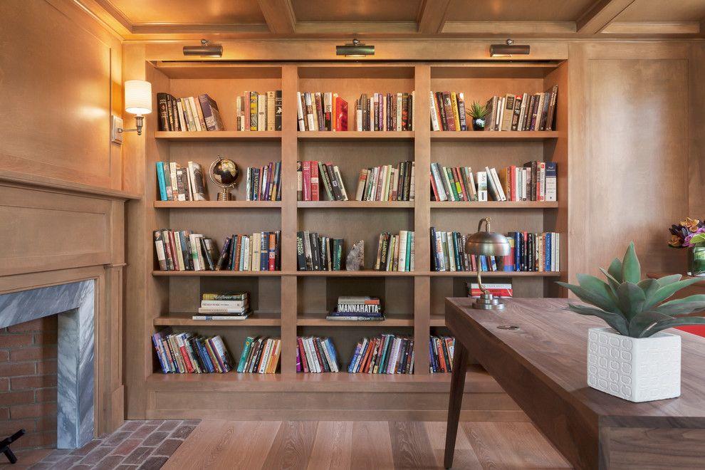 home office bookshelves. Hidden-projector-screen-Home-Office-Beach-with-bookcase- Home Office Bookshelves A
