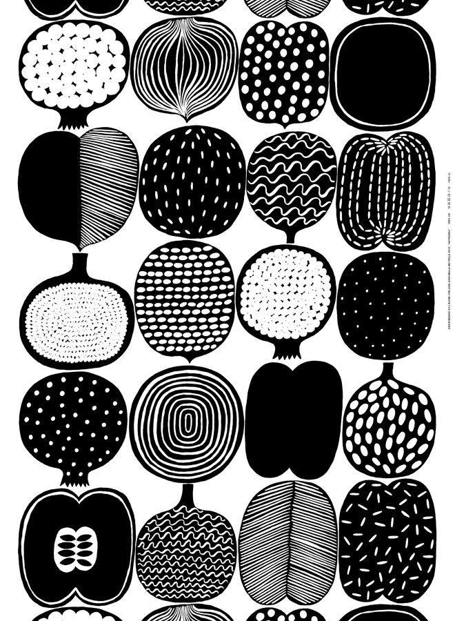 Marimekko Stoffe black and white marimekko sts muster drucken