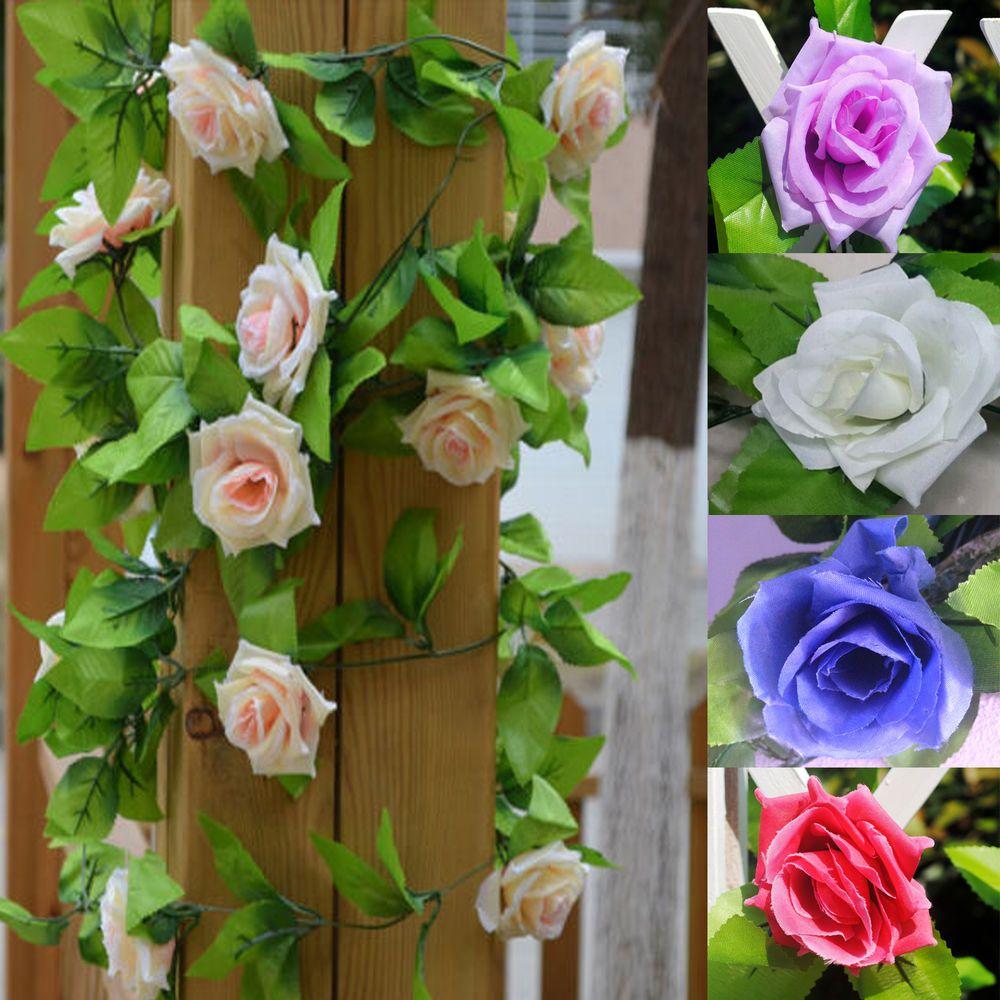2X 2.5M Artificial Fake Silk Rose Flower Ivy Vine Leaf Hanging Garland Wedding