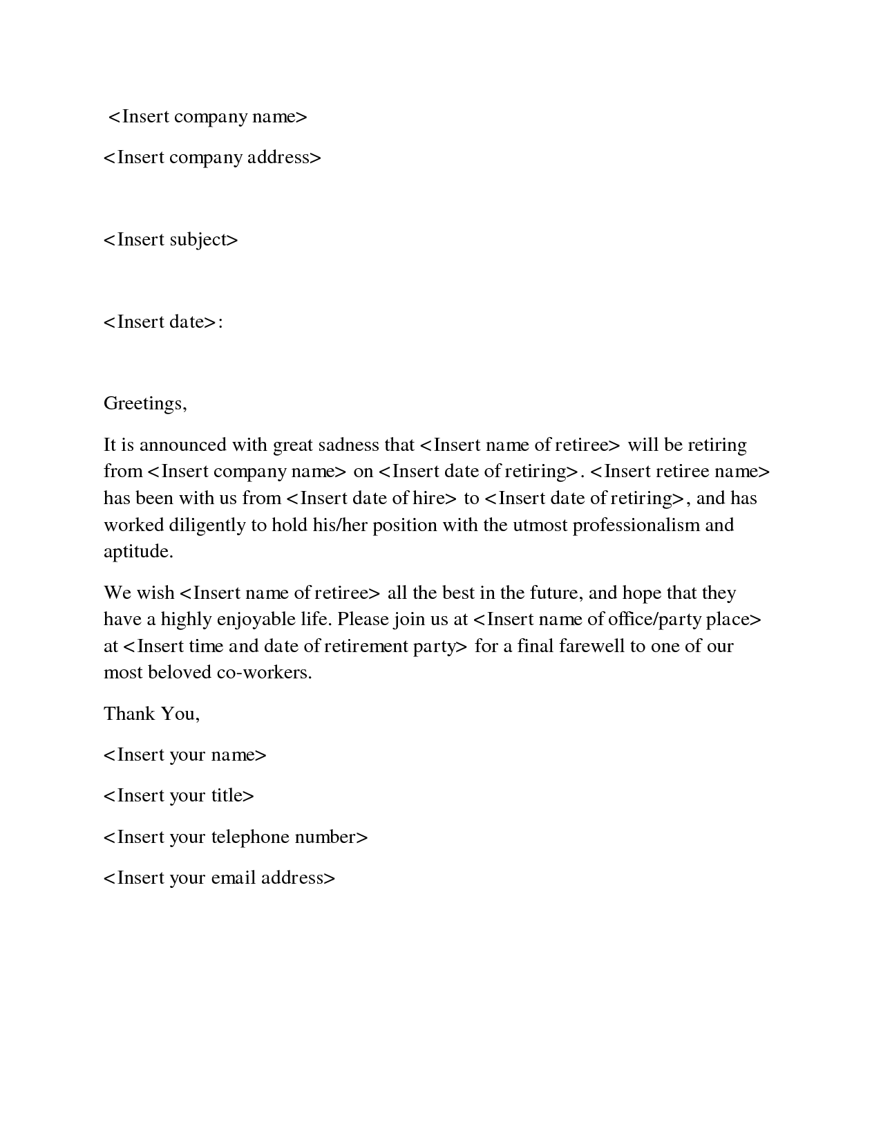 Farewell Letter to Coworkers – A Great Example