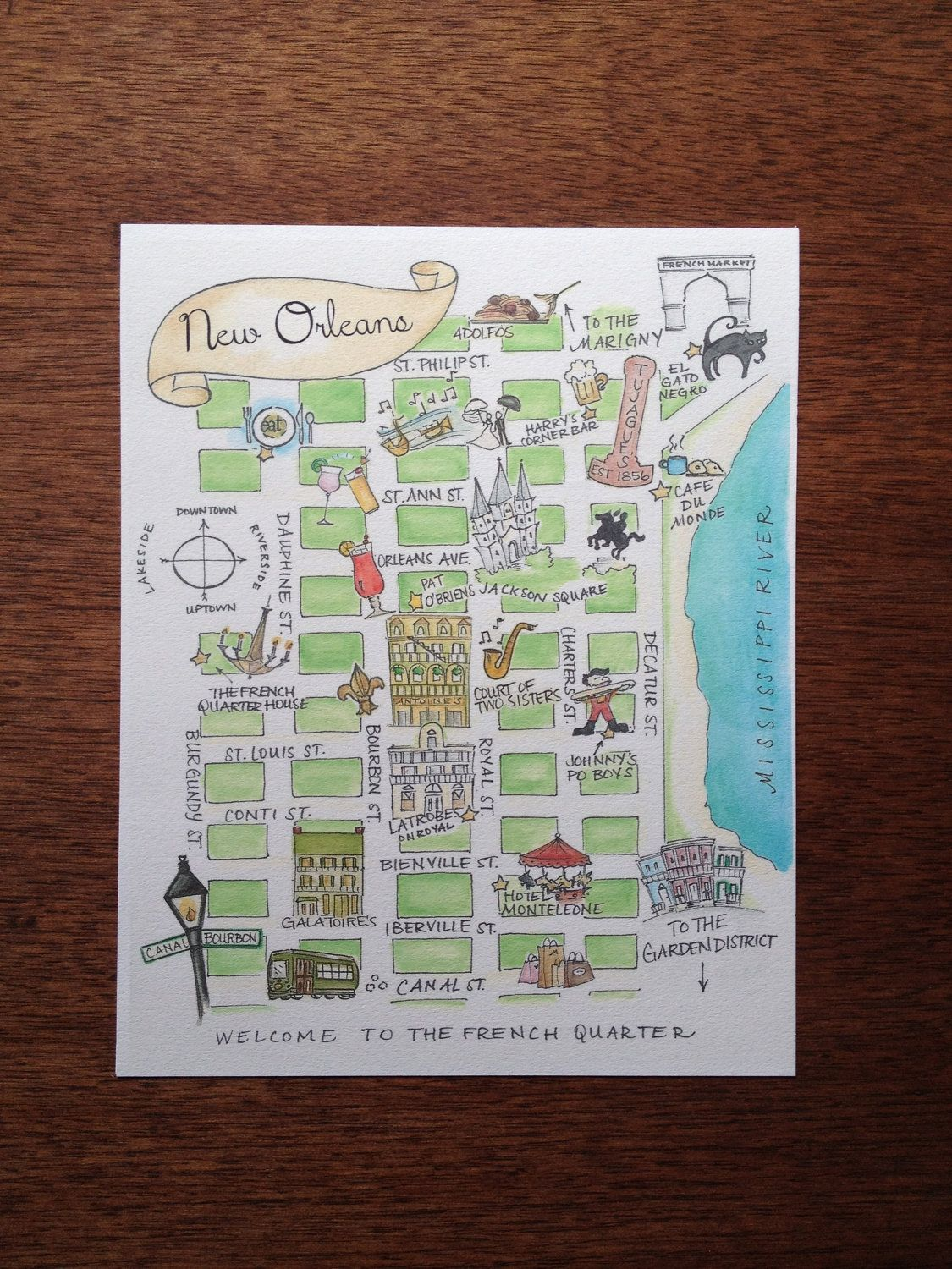 This is a picture of Modest Map of New Orleans French Quarter Printable
