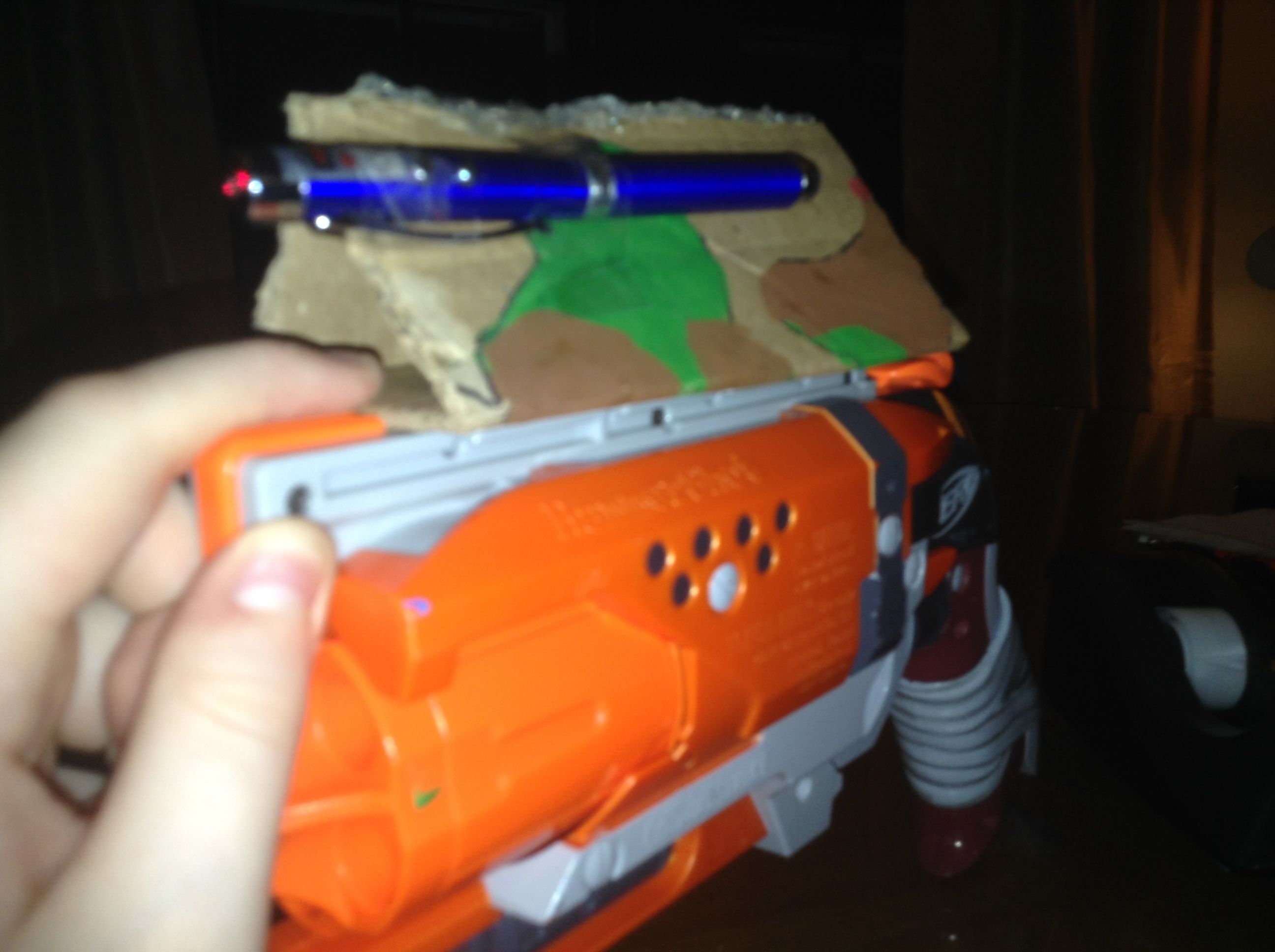 here s a cool custom cardboard nerf gun scope with a laser you will