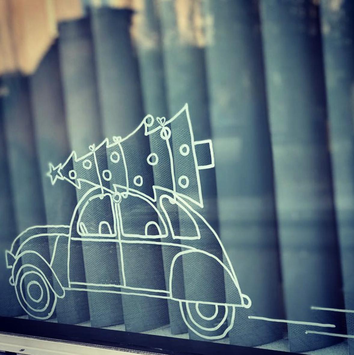 Kerst auto #raamtekening door Krista F