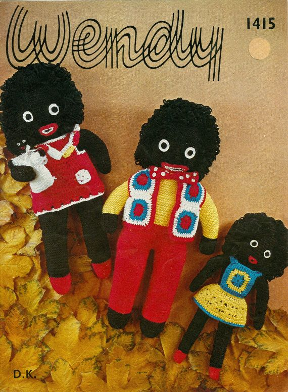 Vintage Golly Family Doll With Clothing Knitting By Dianeh5091