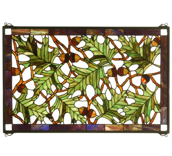 Meyda Tiffany Acorn N Oak Leaf Stained Gl Window Panel 28