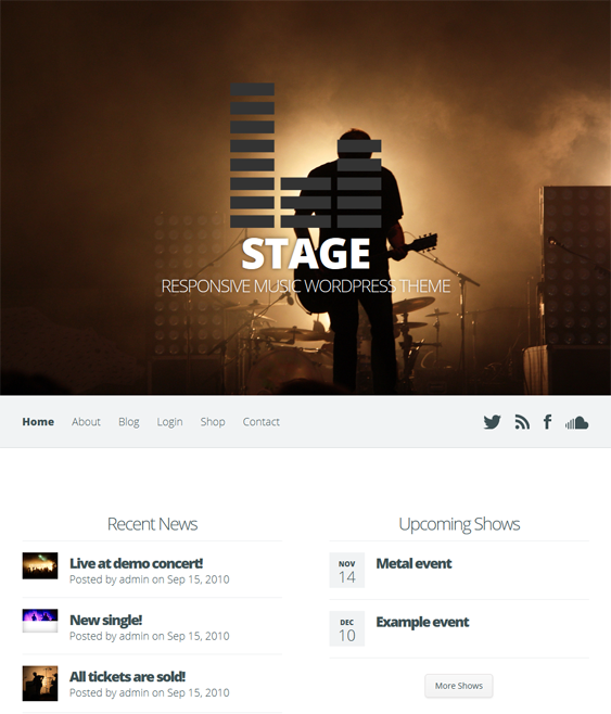 This music WordPress theme includes audio integration, event