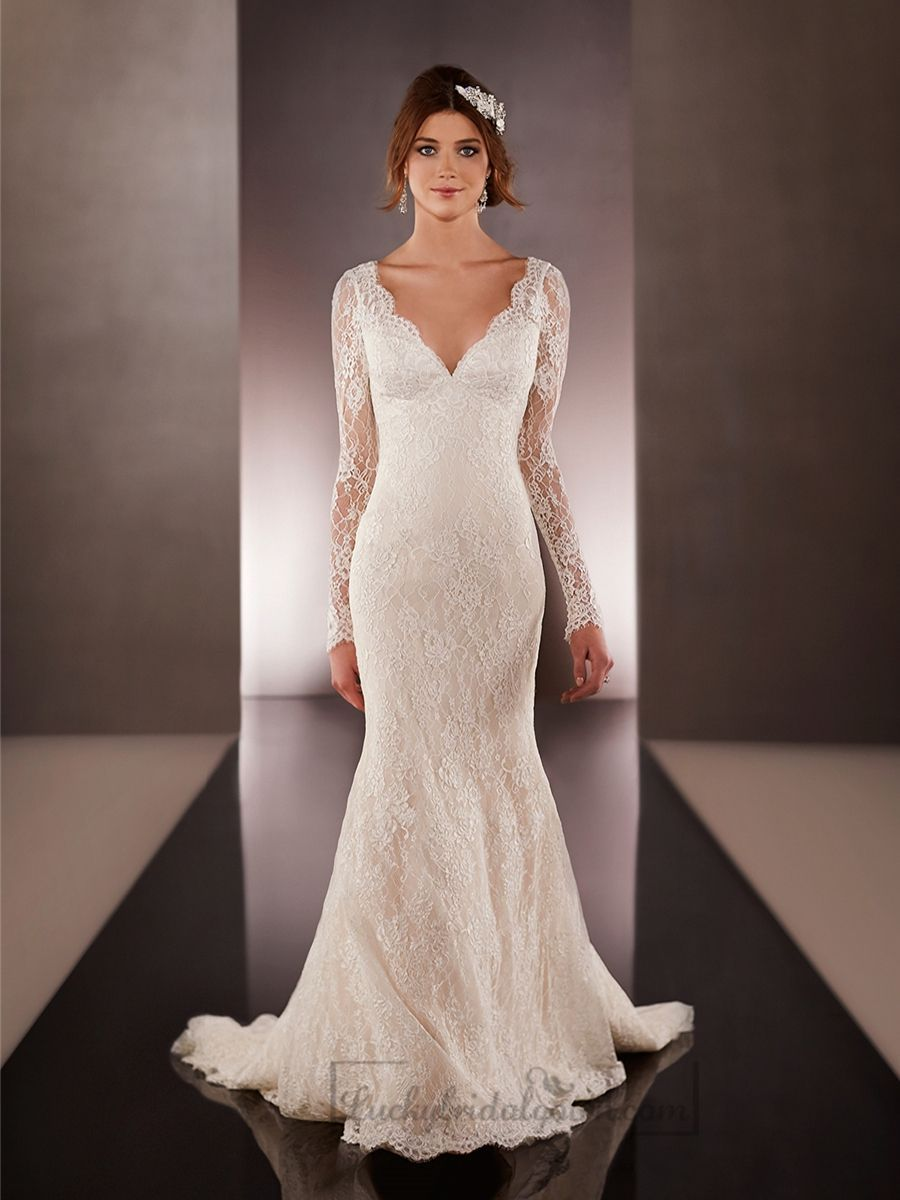 Long illusion slleeves vneck lace wedding dresses with low vback