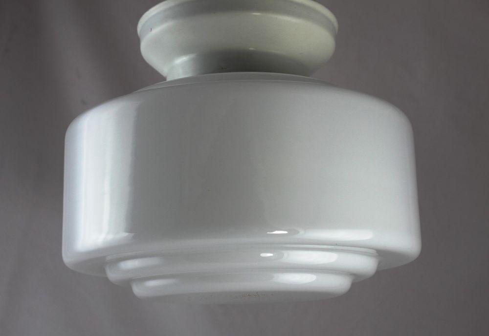 Deckenlampe Plafoniere : Details zu art deco deckenlampe flaches opalglas mit