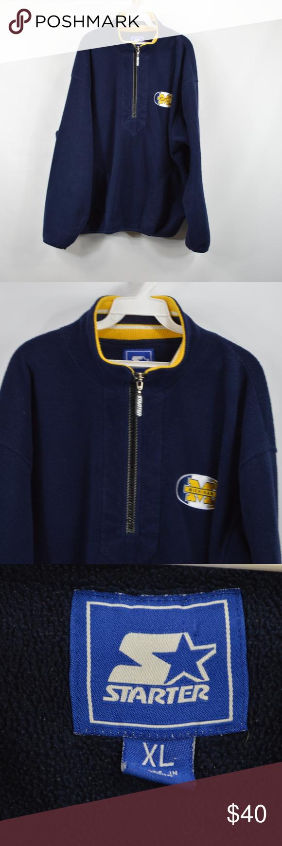Vintage starter michigan wolverines fleece jacket my posh closet