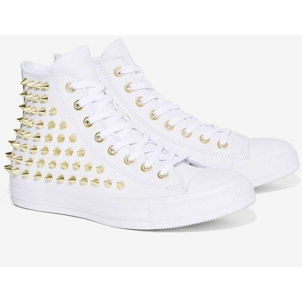 Converse All Star Studded Leather Sneaker ($125) ❤ liked on