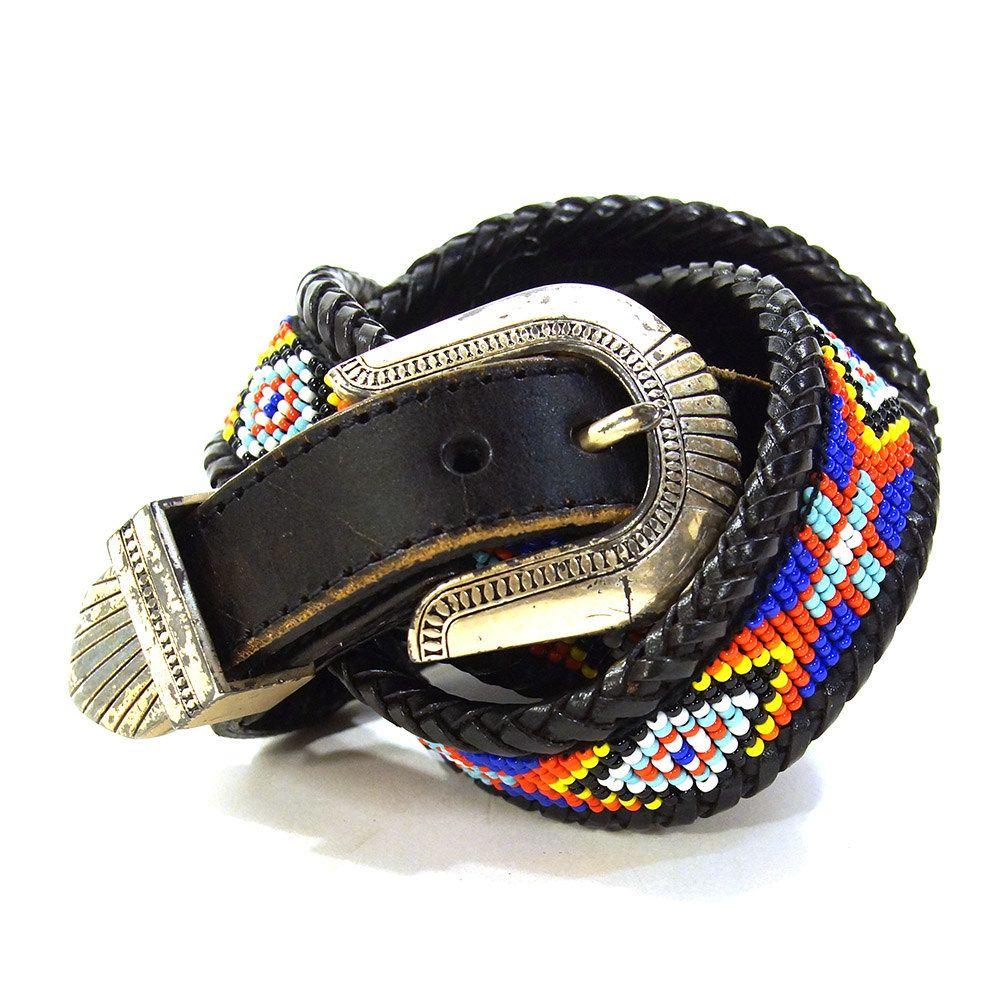 90/'s Southwestern Belt Black Leather Western Belt Vintage Belt Vintage Western Belt