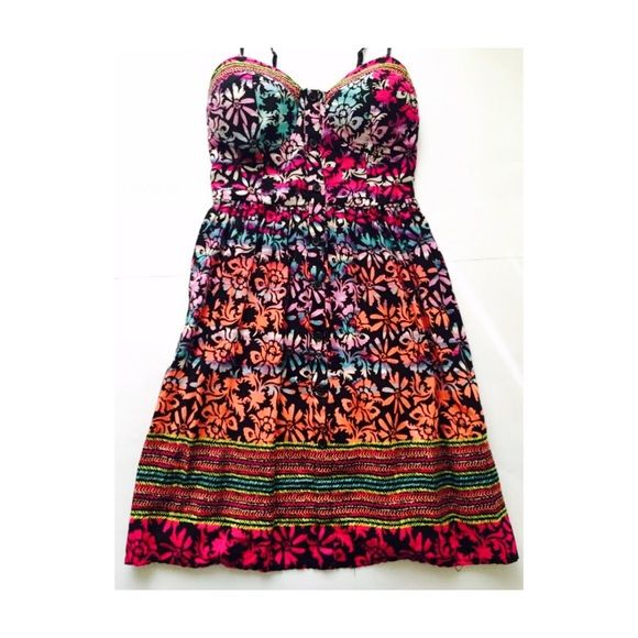 Colorful Floral Dress Multi-color floral dress with buttons in-front Band of Gypsies Dresses