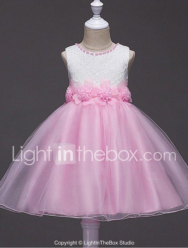 Vestido de bola corto / mini vestido de niña de flor - cuello de ...
