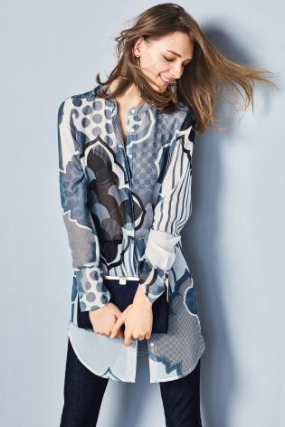 buy best shop hot new products Buy Blue/White Print Longline Blouse from the Next UK online ...