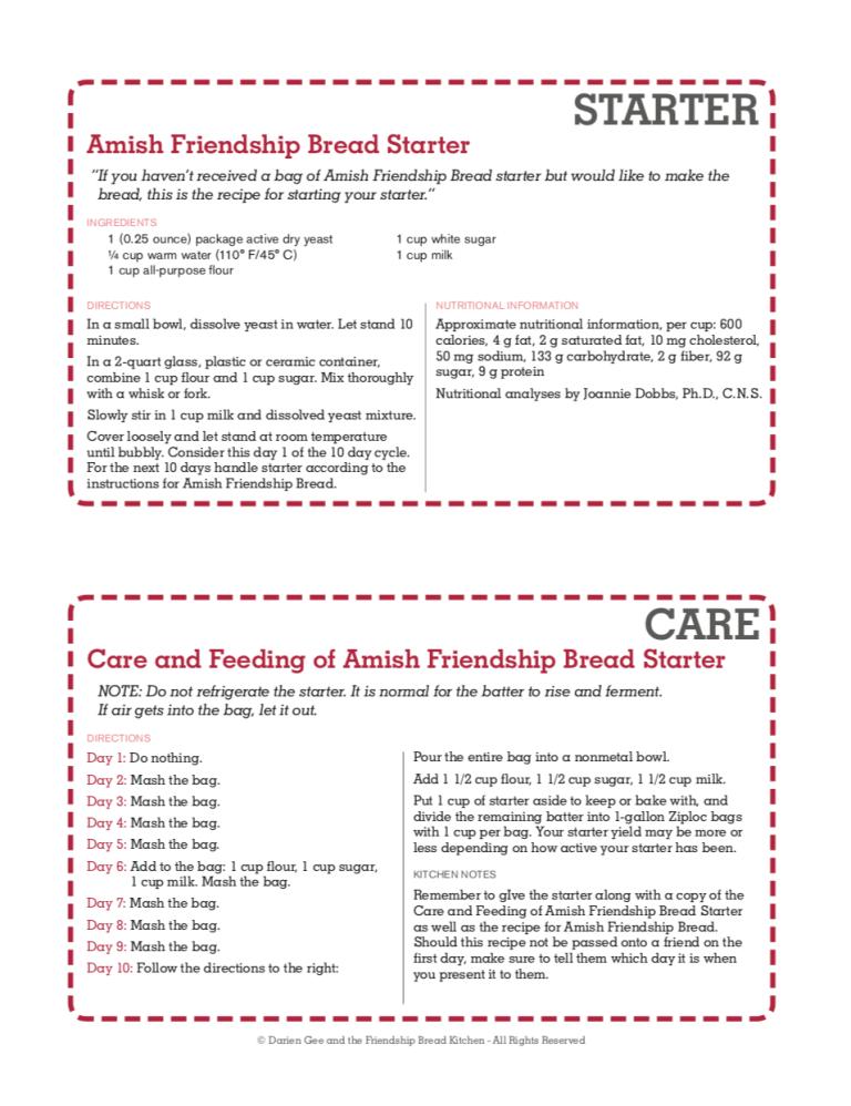 Printable Amish Friendship Bread Instructions Amish Friendship Bread Friendship Bread Friendship Bread Recipe