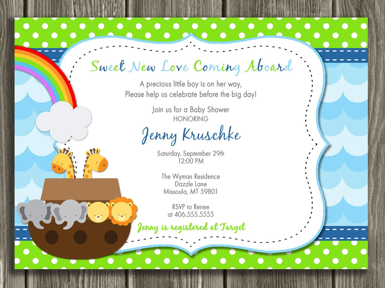 Noah\'s Ark Baby Shower Invitation - FREE thank you card included ...