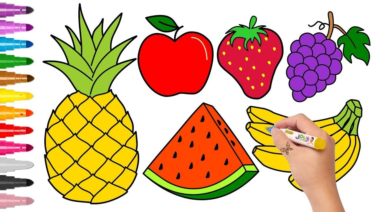 How To Draw Pineapple Watermelon And Other Fruits Drawing For