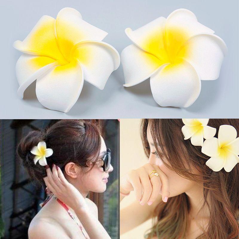3pcs Lot Hawaiian Foam Flower White Plumeria Bridal Wedding Party Hair Clip Size 8 8cm For Women Casual Wedding Hair Clips Party Hair Clips Wedding Party Hair