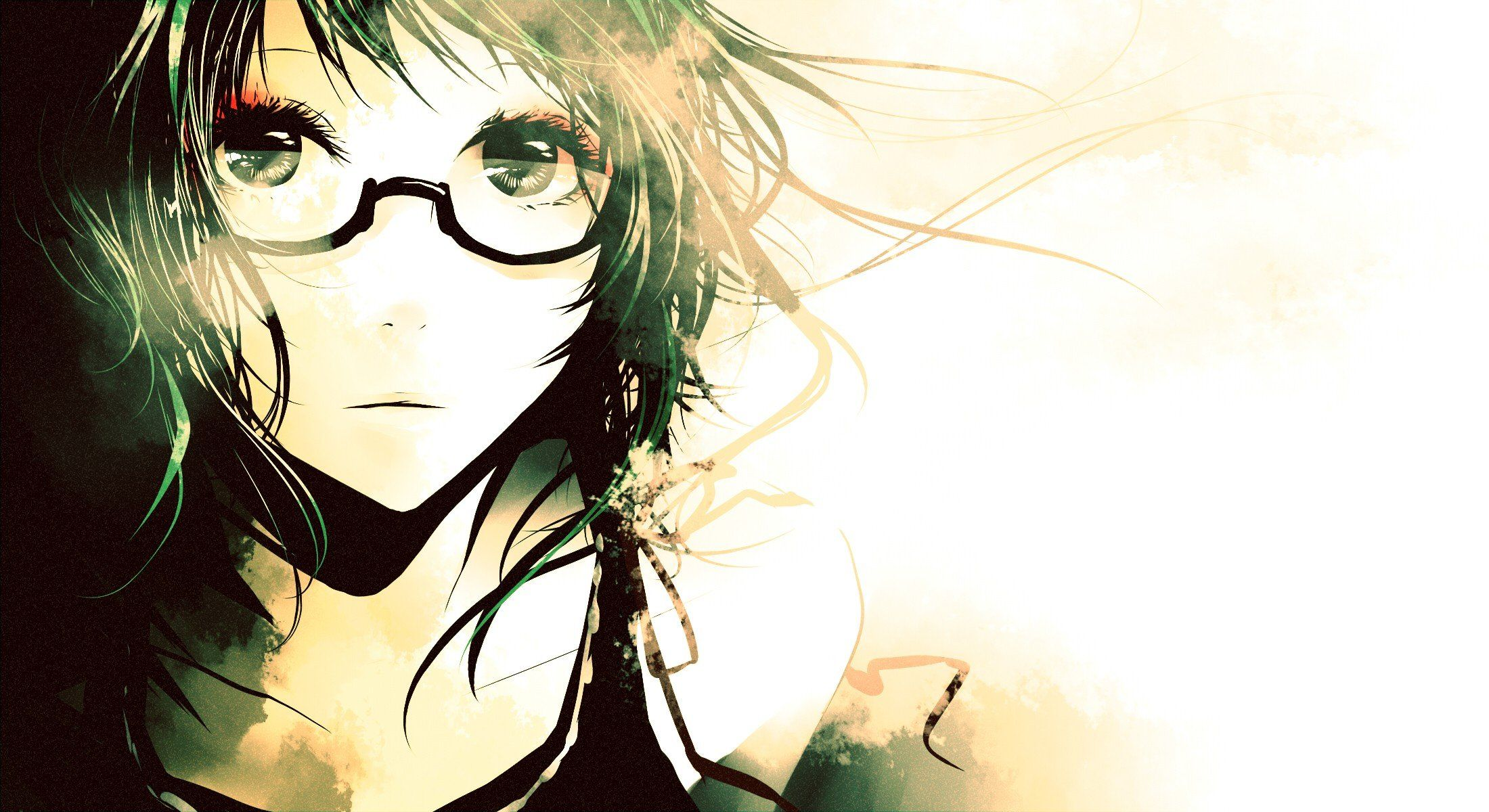 Anime girls glasses megpoid gumi short hair vocaloid walldevil
