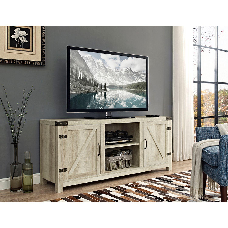 """58"""" White Oak Rustic TV Stand Barn door tv stand"""