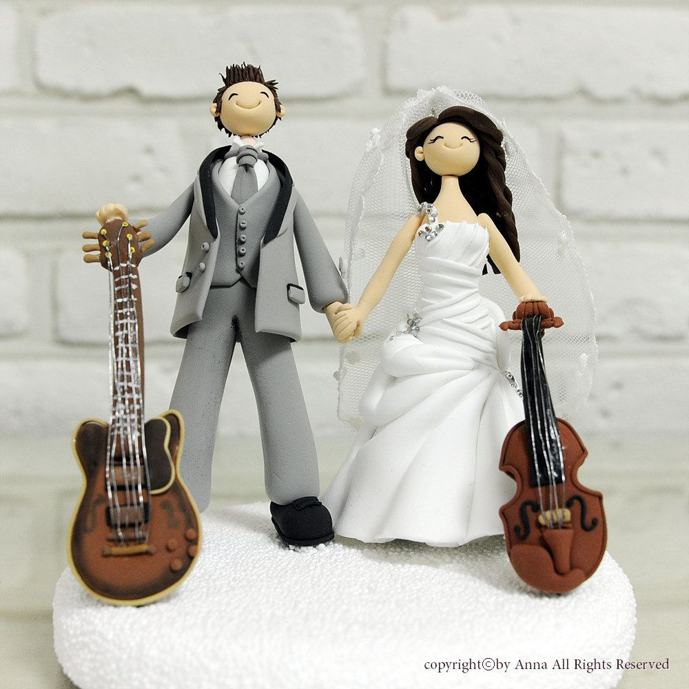 Outstanding Guitar Themed Wedding Cake Topper Crest - The Wedding ...