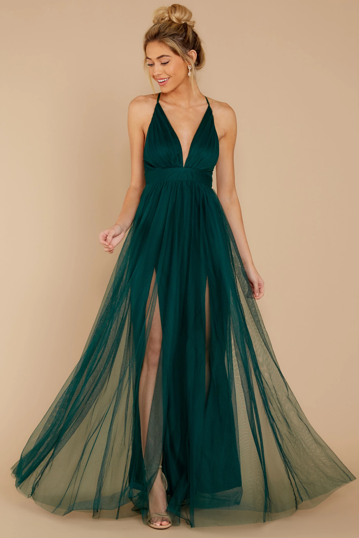 Matters Of The Heart Hunter Green Maxi Dress