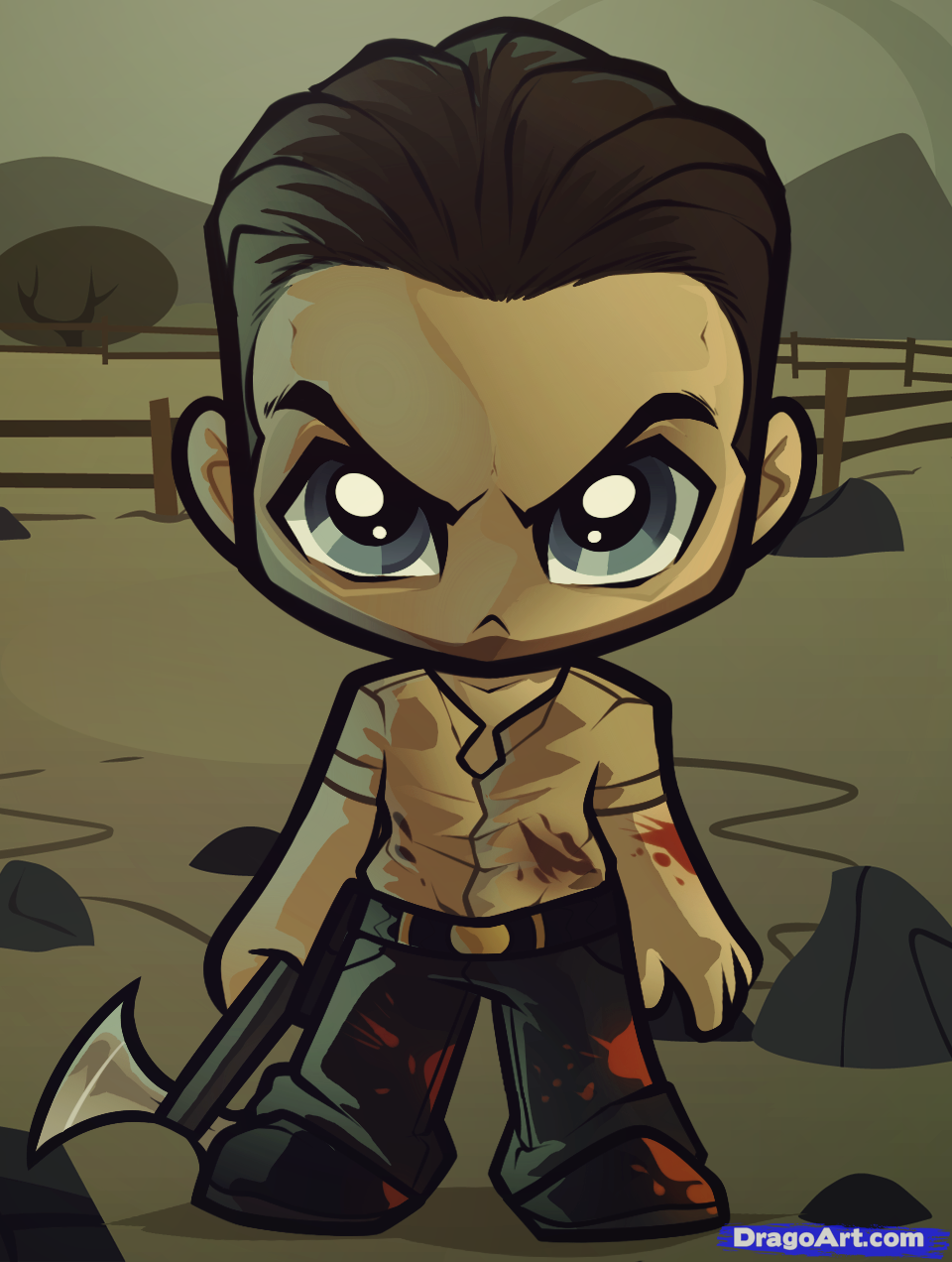 How To Draw Chibi Rick Grimes The Walking Dead Step By Step Walking Dead Art Chibi Drawings Chibi