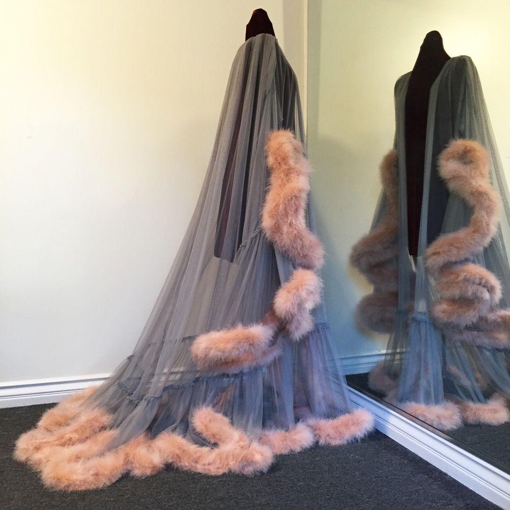 "Boudoir by D'Lish — ""Cassandra"" Extravagant Marabou Dressing Gown Smoke/Naturelle"