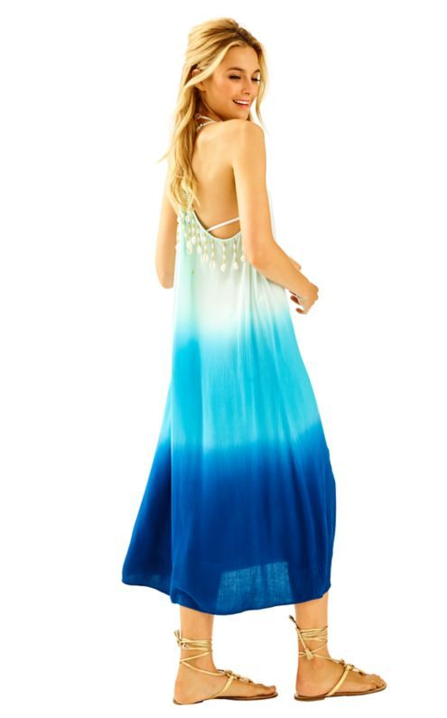 5de84eff66e3a8 The Kenli Midi Cover-up is a beautiful ombre beach dress with shell novelty  at the back. Find this Pin and more on Lilly Pulitzer ...