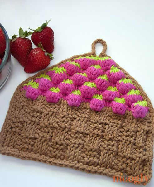 Free Pattern Strawberry Basket Tunisian Dishcloth Tischsets