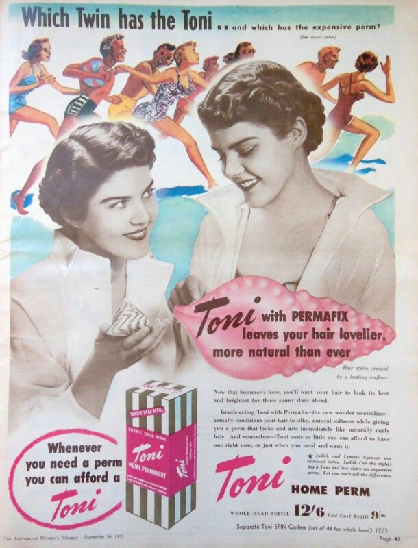 Classic Vintage Retro Print Creme Permanent Picture Poster Photo Toni Hair