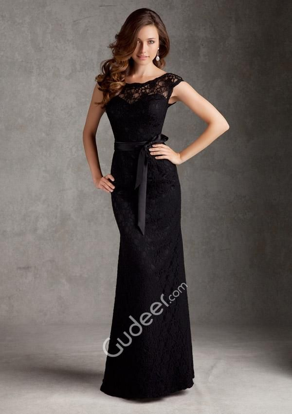 Black Lace Floor Length Bridesmaid Dresses