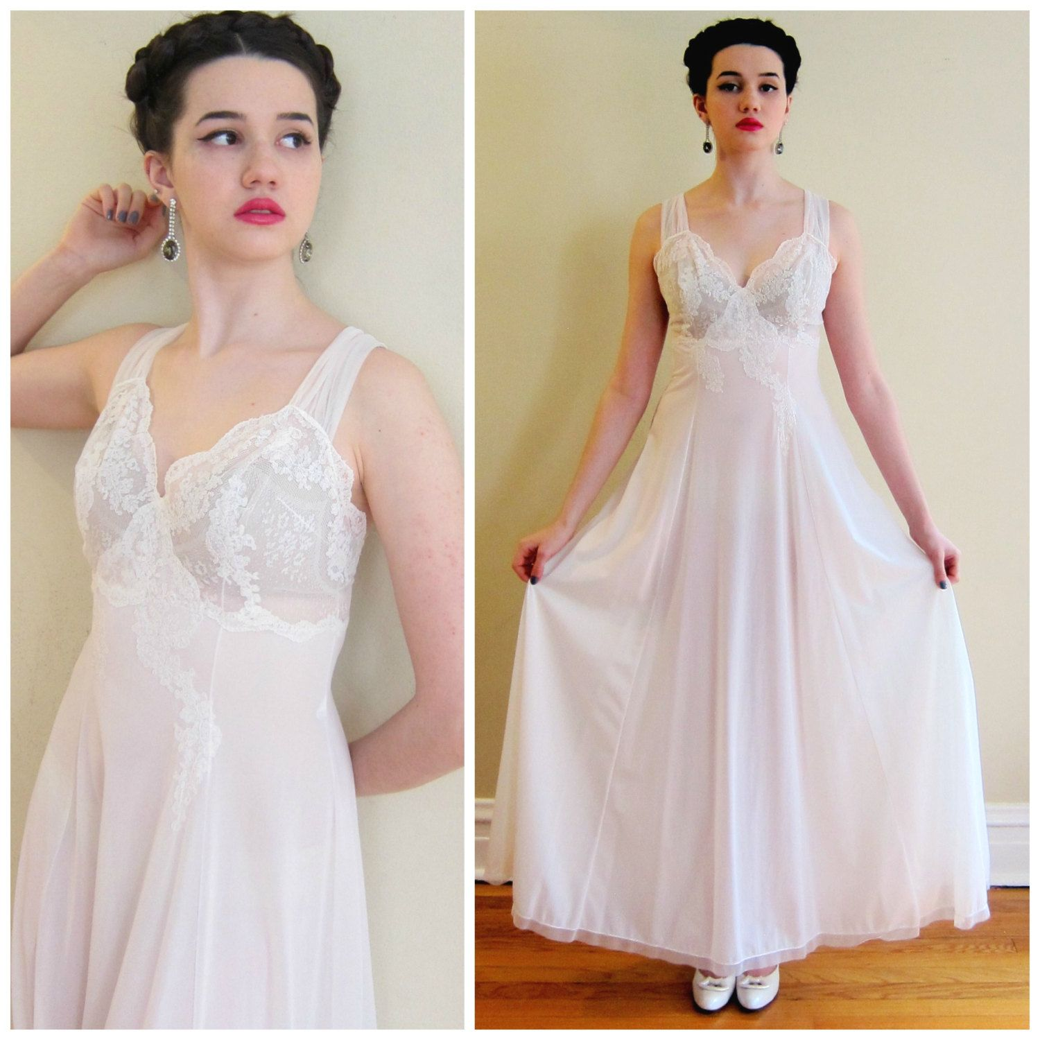 Vintage 1940s White Lace Negligee Nightgown 40s Slip