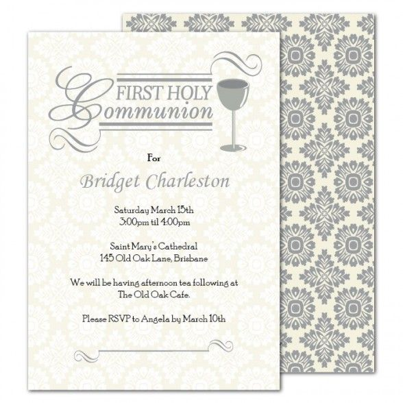Party Invitations Free Printable First Holy Communion With Damask Pattern Hard Cover Featuring Gray And White Themed Card Complete