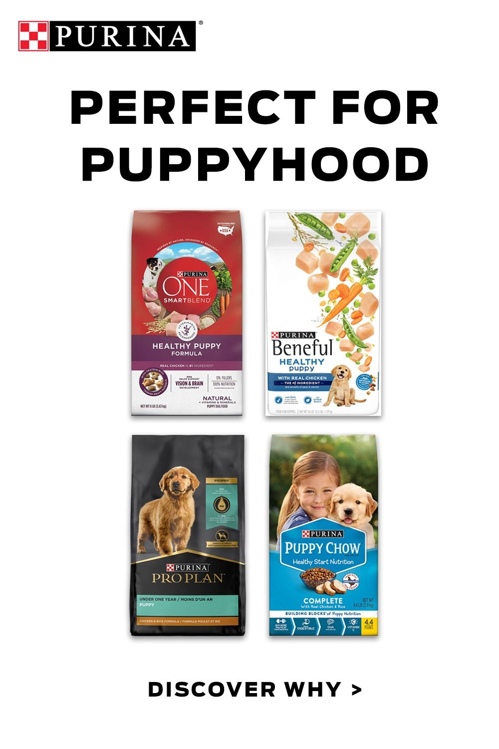 All puppies need puppy food. Purina Puppy Food helps