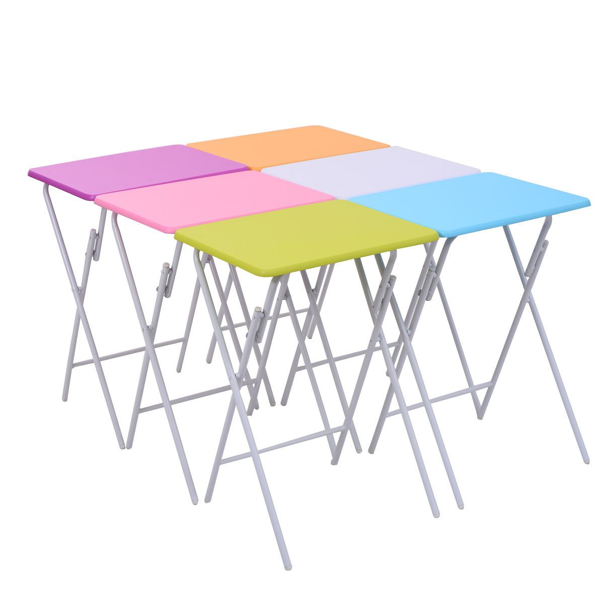 Set Of 6 Folding Side Table Multicolor Game Snack Craft