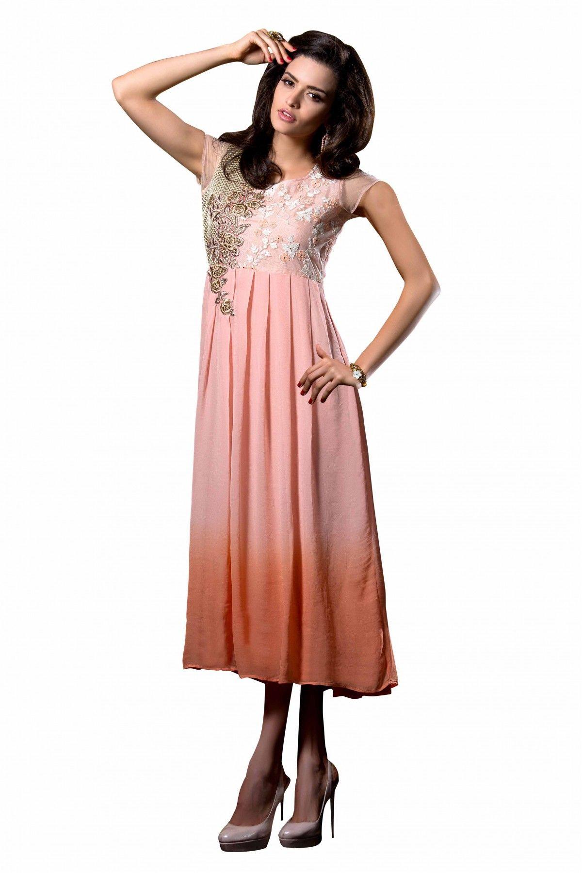 Georgette Westren Wear Kurti In Dusty Pink Colour