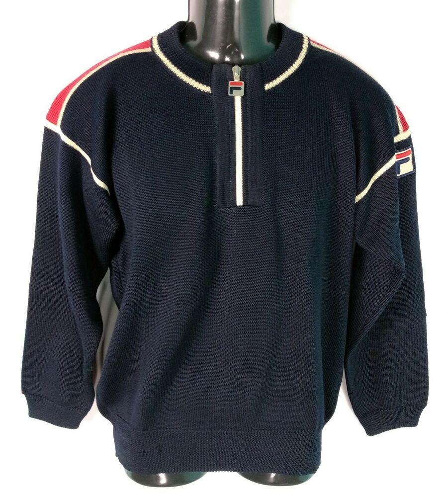Maglione FILA vintage da uomo taglia S M blu lana con zip